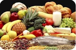 Fruits, vegetables, fish, bread, milk and grains.